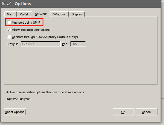 Disabling UPnP in the GUI