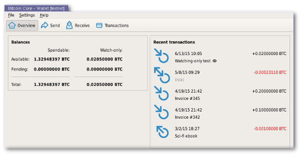 User Interface - Bitcoin Core Features