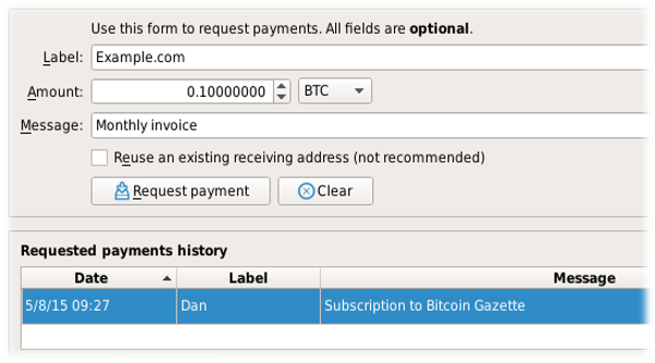 Bitcoin Core request payment