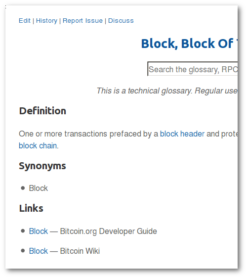 Glossary entries