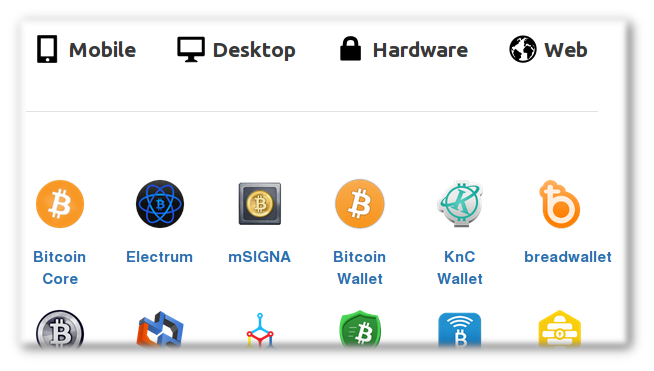 Just some of the wallets currently listed