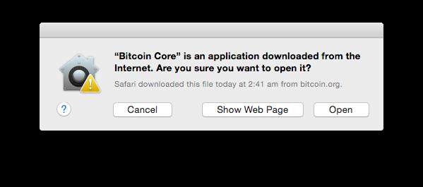 Диалоговое окно безопасности файлов Mac OS X