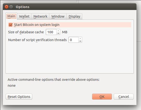 Выбор для запуска Bitcoin Core при входе в систему