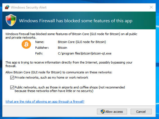 Opening outgoing firewall for Bitcoin Core